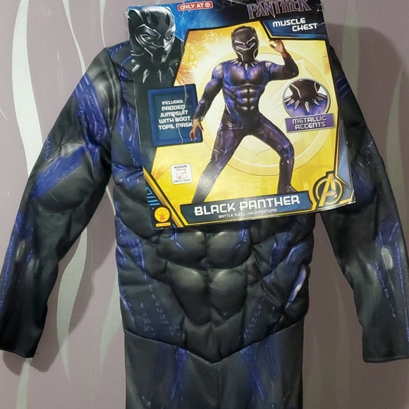 Boys black panther muscle chest  Costume